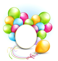 Congratulation background with balloons and a roun vector