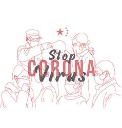 Coronavirus line art doodle vector