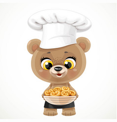 Cute cartoon baby bear chef with buns in a large vector