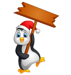 Cute penguin holding blank sign vector