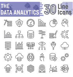 data analytics line icon set database symbols vector image