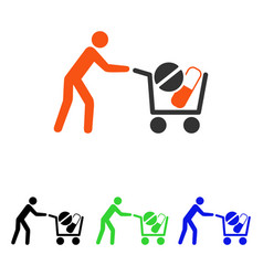 Drugs shopping cart flat icon vector