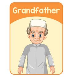 Educational english word card grandfather vector