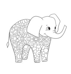 Elephant coloring for adults animal vector