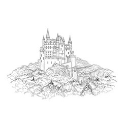 Famous french castle landscape travel france vector