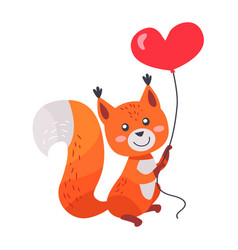 Fox with red heart shaped balloon in paws isolated vector