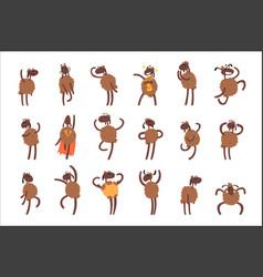Funny cartoon sheep character set brown sheep vector