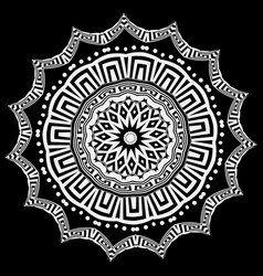 greek round floral mandala pattern black and vector image