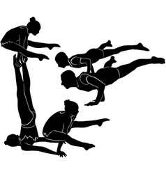 Gymnasts acrobats black silhouette vector