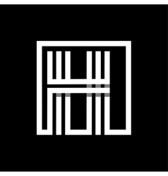 H capital letter made of stripes enclosed in a vector