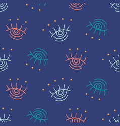 hand drawn boho eyes doodles repeat pattern vector image