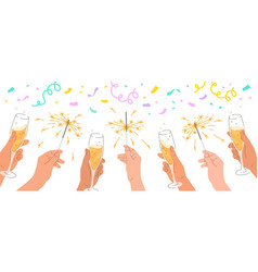 Hands with champagne glasses sparklers celebration vector