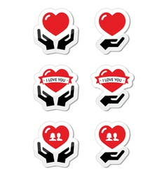 Hands with red heart love relationship icons set vector image vector image