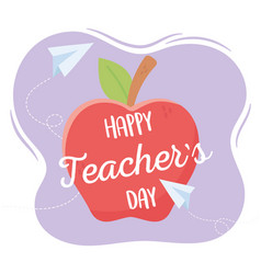 Happy teachers day school apple paper planes vector