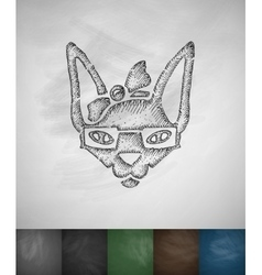 Hipster sphynx cat icon Hand drawn vector
