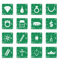 Jewelry items icons set grunge vector