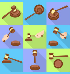 Judge hammer icon set flat style vector