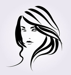 Line sketch of a woman face vector