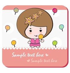 Lollipop girl card vector