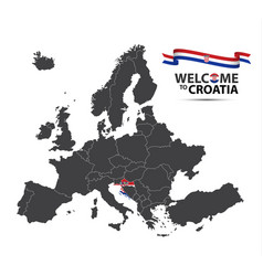 map of europe with the state of croatia vector image
