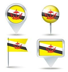 Map pins with flag of Brunei vector image