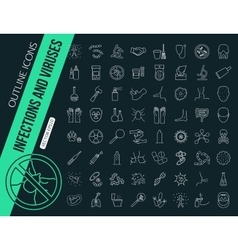 mega collection outline shopping icons online vector image