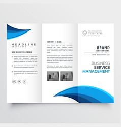 Modern blue trifold business brochure layout vector