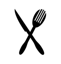 Monochrome silhouette with knife and fry fork vector