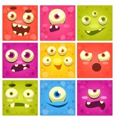 Monster Faces Set vector