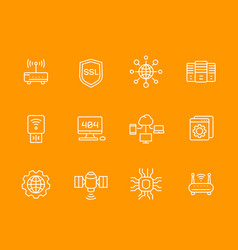 Network web hosting service ssl line icons set vector