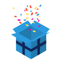 open blue gift box icon isometric style vector image