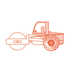 Orange silhouette shading cartoon road roller vector