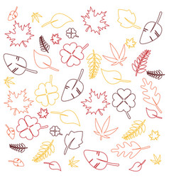 outline colorful leaves background vector image