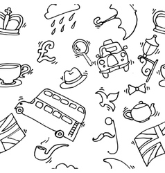 Pattern with London touristic icons vector