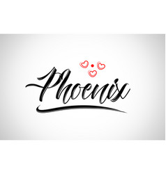 Phoenix city design typography with red heart vector