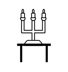 Pictogram chandelier candles decorative on table vector