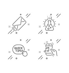 quick tips e-mail and chemistry lab icons set vector image