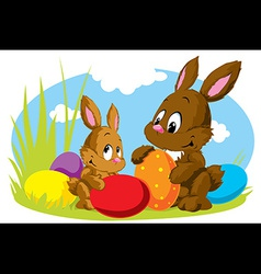 Rabbit with eggs vector