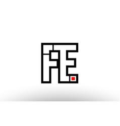Red and black alphabet letter fe f e logo vector