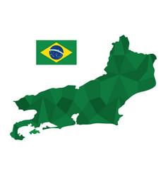 rio de janeiro map and flag icon vector image
