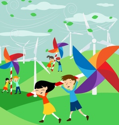 Save the Earth - Green economy for children vector image