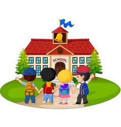 school children going to school vector image