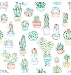 Seamless pattern of linear cacti and succulents vector