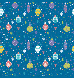 seamless pattern with christmas toys balls and vector image