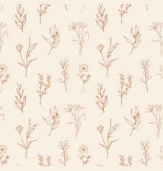 Seamless pattern with wild blooming flowers and vector