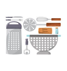 set flat kitchen utensils and tools icon vector image