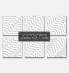 set simple seamless outline patterns vector image