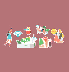 set stickers characters use internet on laptop vector image