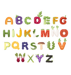set vegetable and fruit alphabet food style vector image
