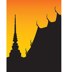 Silhouette of temple and pagoda vector